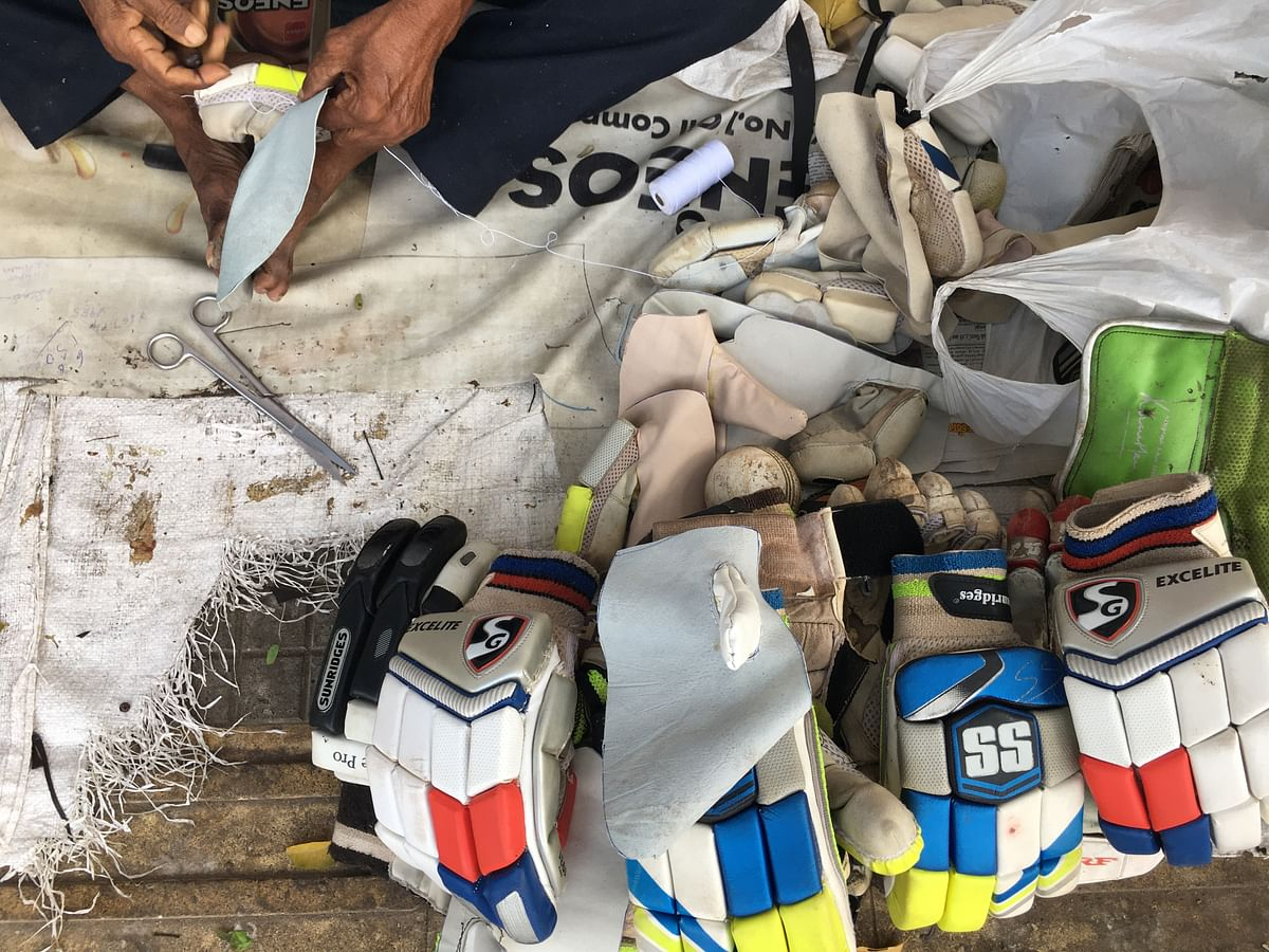 Pads, gloves, helmet, shoes. Except for repairing the bat, Baskaran can repair everything.