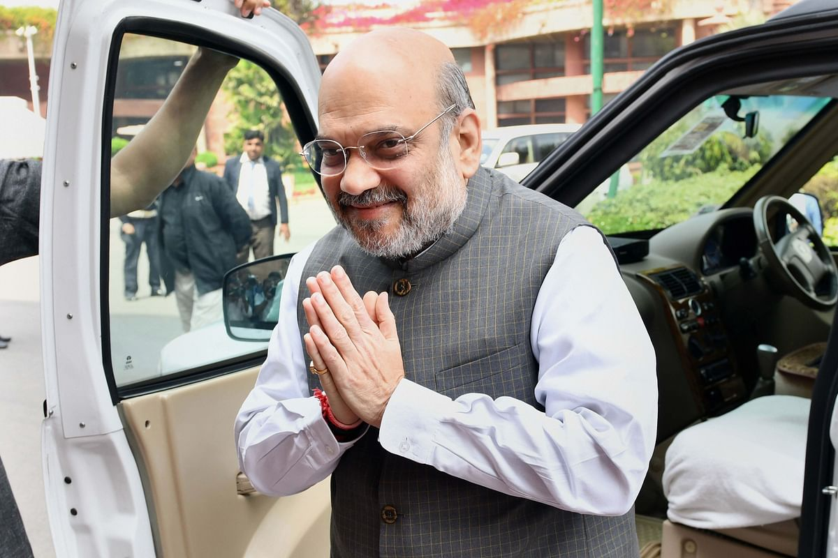 Union Home Minister Amit Shah at Parliament during the ongoing Budget Session, in New Delhi, on Thursday.