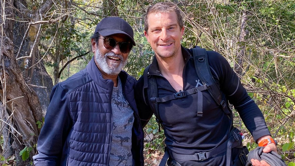 Rajinikanth with Bear Grylls on the sets of <i>Into The Wild</i>.