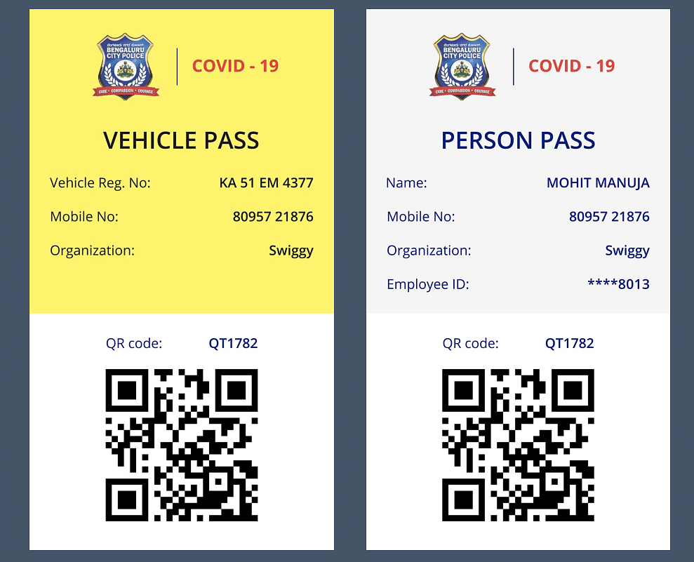 A sample individual pass and vehicle pass.