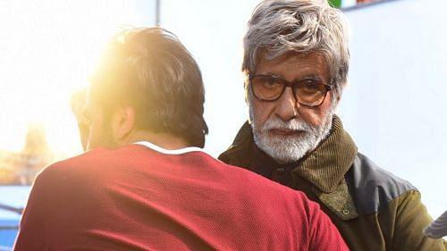 Amitabh Bachchan hugs Ranbir Kapoor on the sets of <i>Brahmastra</i>.