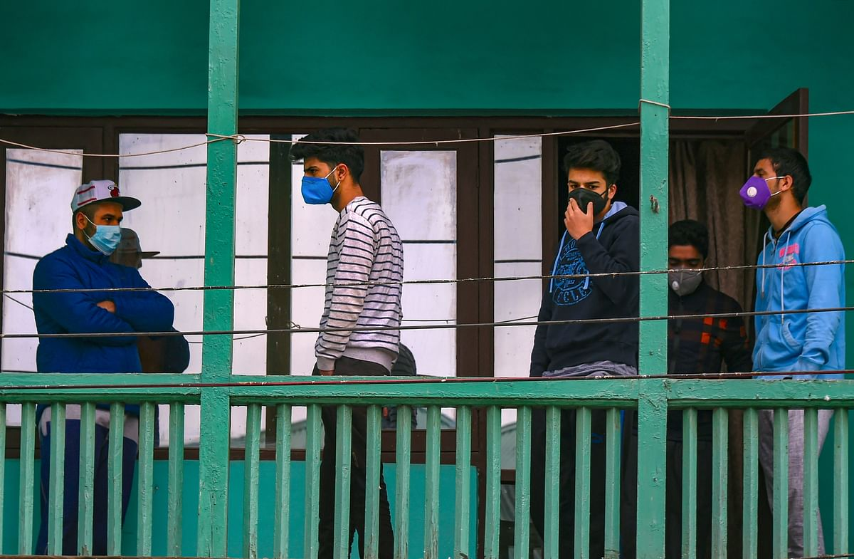 Students who recently returned from the Covid-19 hit countries at a quarantine facility, to mitigate the spread of coronavirus, in Srinagar.