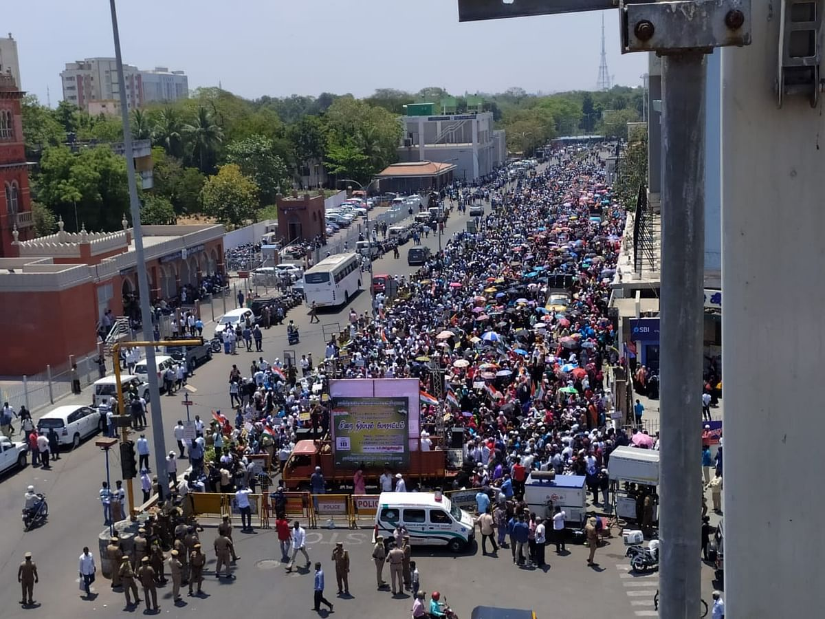 Amid the coronavirus outbreak, at least 3,000 people took to the streets in Chennai to protest CAA and NRC.