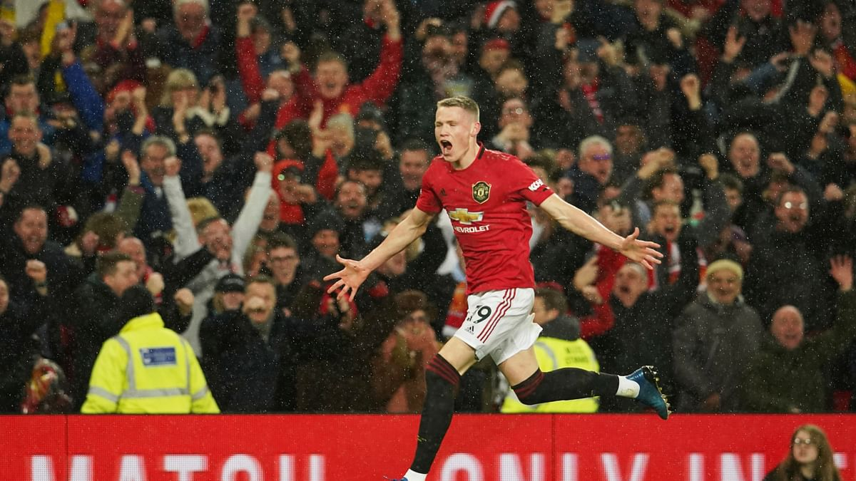 Manchester United's Scott McTominay celebrates after scoring his side's second goal during the English Premier League soccer match between Manchester United and Manchester City at Old Trafford.