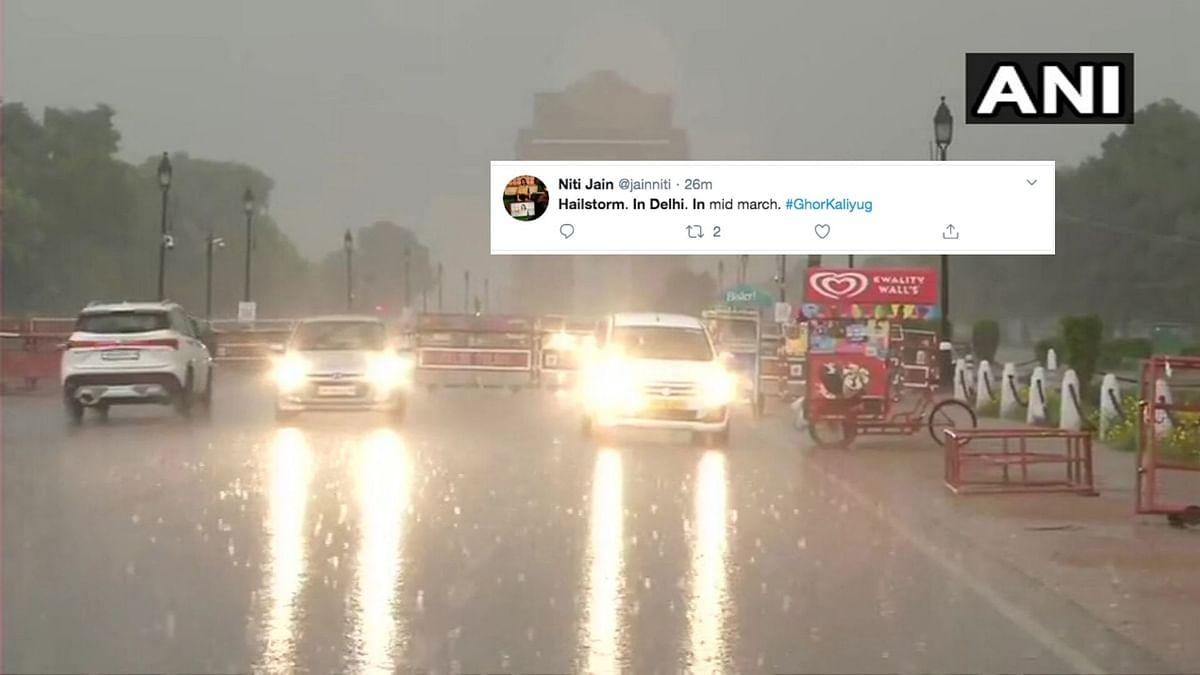 Heavy Rain, Hailstorm For Few Minutes Leaves Delhi-NCR 'Surprised'