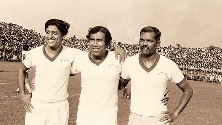 Indian football legends Chuni Goswami, PK Banerjee and Tulsidas Balaram.