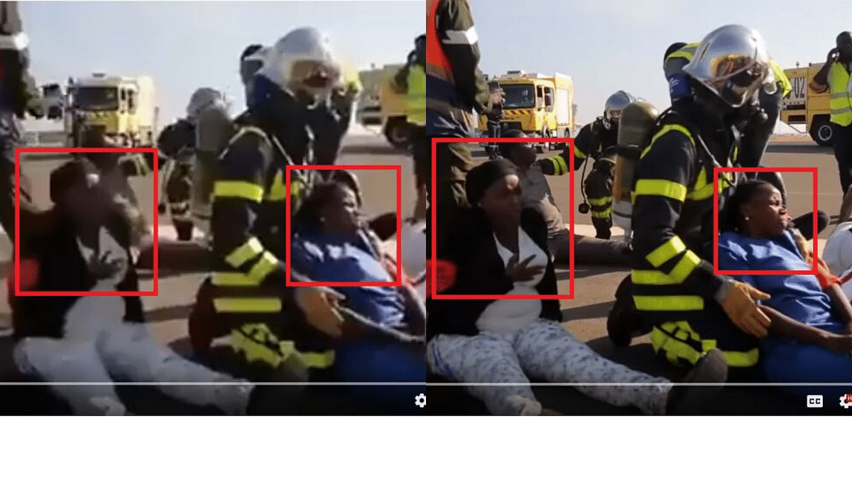 The image on the left shows the viral video and the frame on the right is of the original clip.