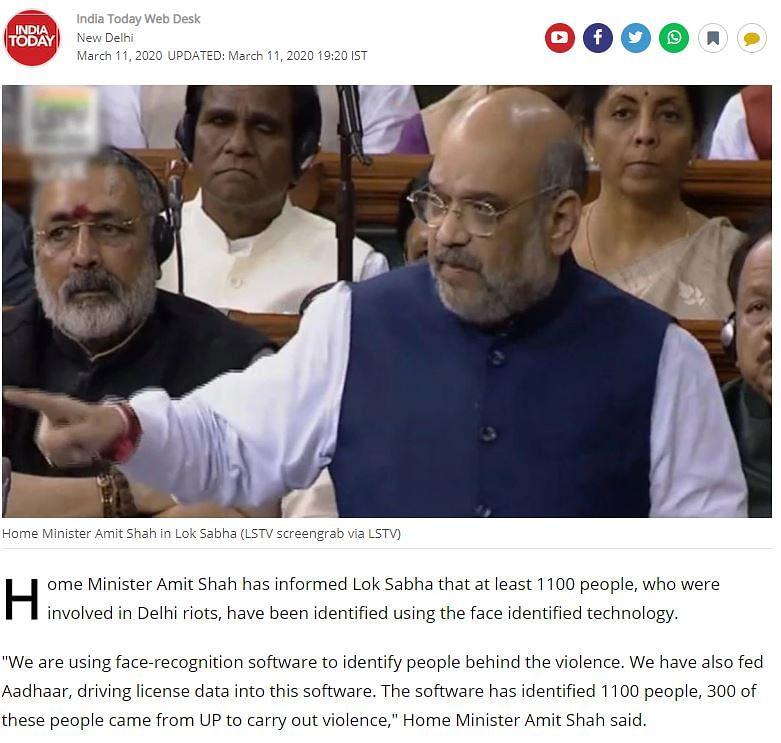 Shah Didn't Say Govt Used Aadhaar Data to Identify Delhi Rioters
