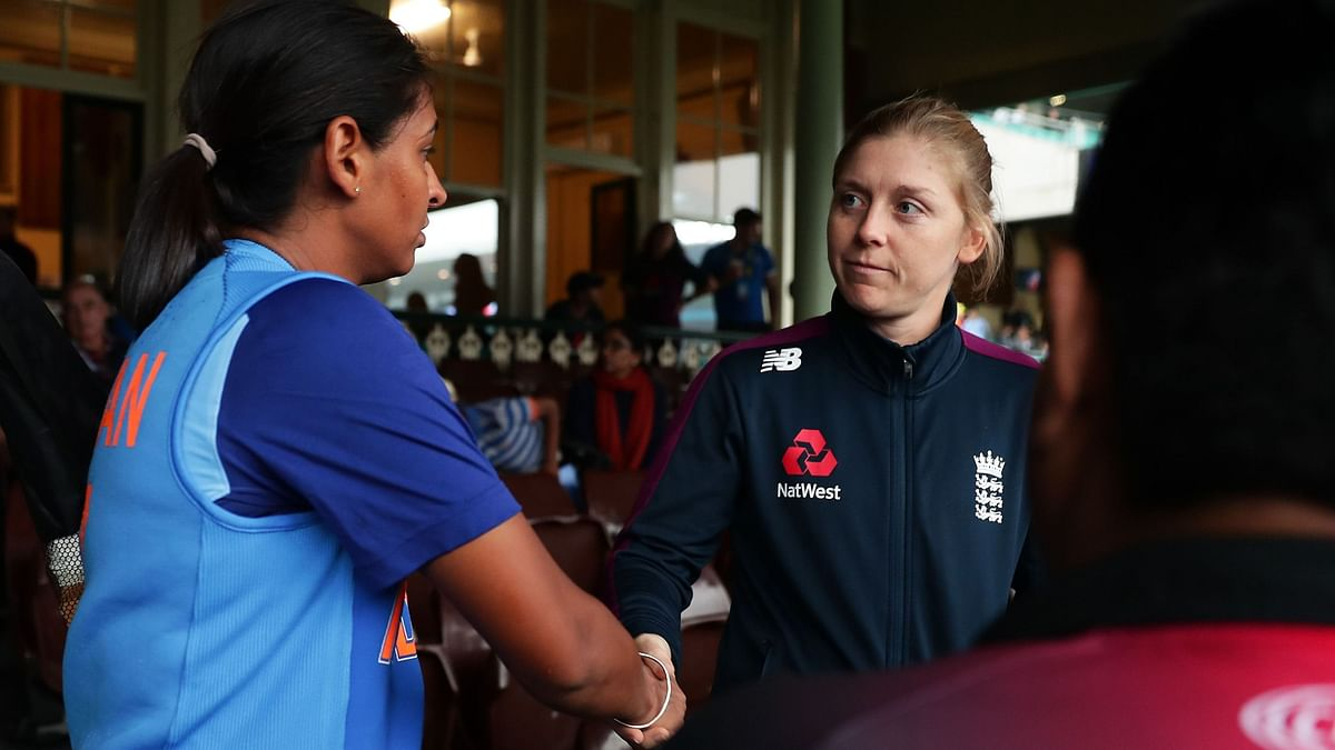 Captains shake hands as India enter the Women's T20 World Cup Final after their semi-final against England was washed out due to rain.