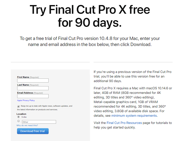 Free 90-day trial period for Final Cut Pro X