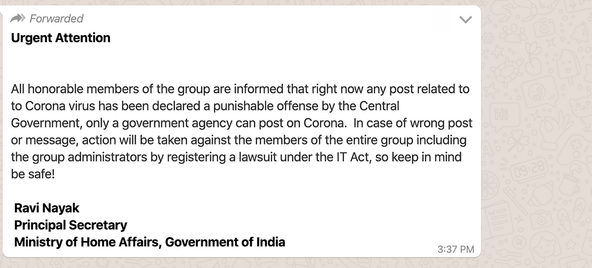 Fake Message Linked to MHA Claims Posting on COVID-19 is Illegal