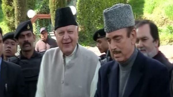 National Conference leader Farooq Abdullah and Congress leader Ghulam Nabi Azad in Srinagar on Saturday, 14 March.