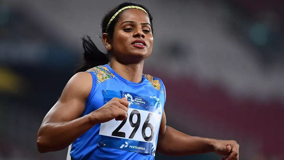 """<div class=""""paragraphs""""><p>Indian sprinter Dutee Chand failed to make progress in the 100m women's event.</p></div>"""