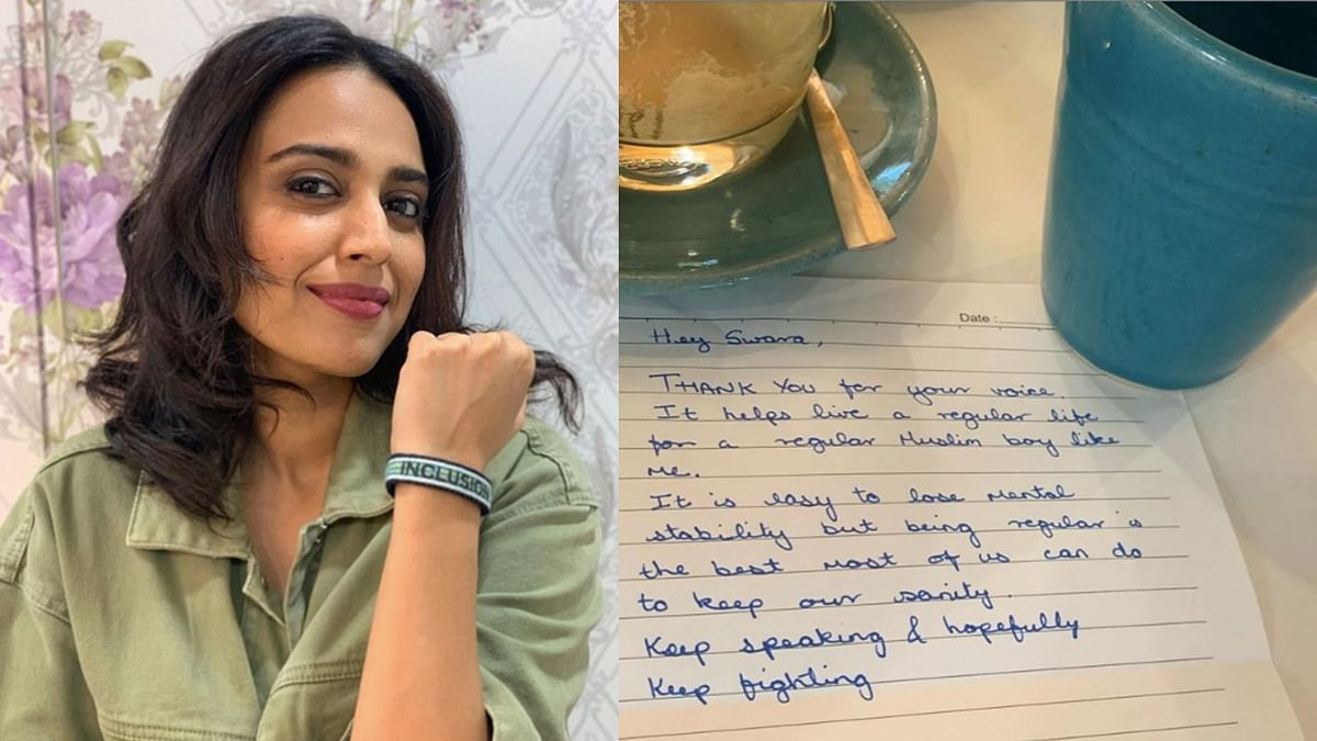 An Overwhelmed Swara Shares Note of Appreciation From a Stranger