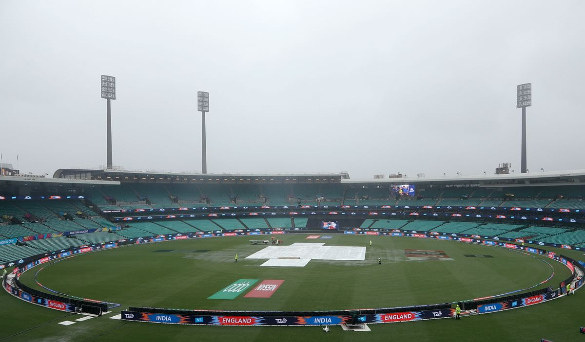 Rain falls on the Sydney Criceket Ground delaying the start of the Women's T20 World Cup cricket semifinal matches in Sydney.