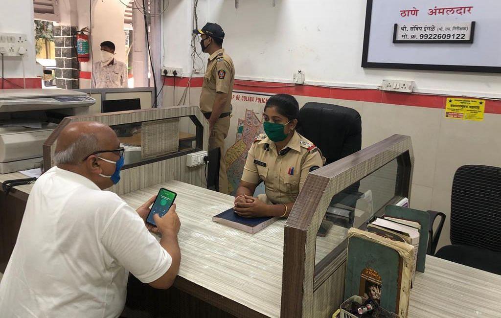 Mumbai Police take necessary precautions while working.