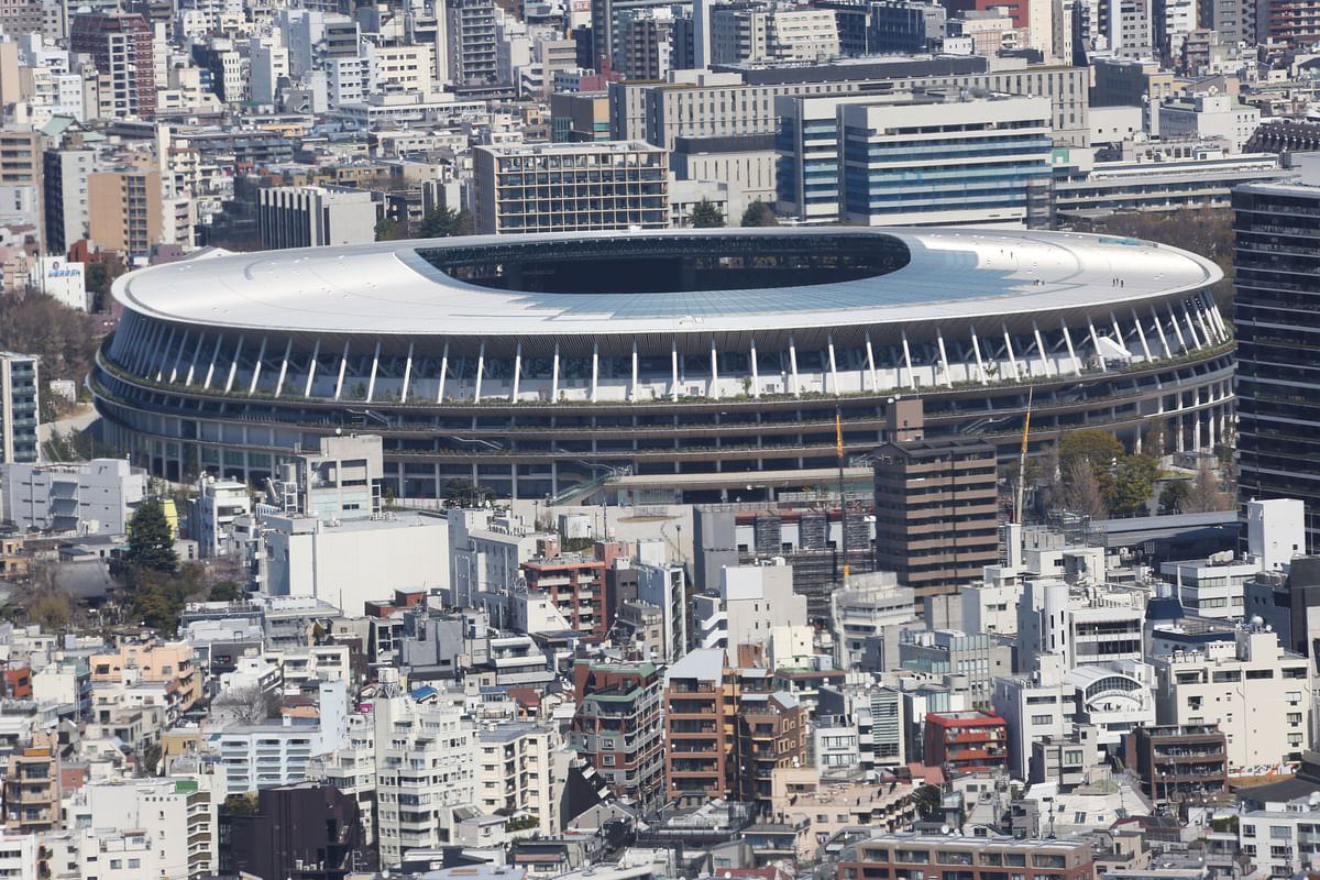 Tokyo's New National Stadium, a venue designed for the opening and closing ceremonies for the Tokyo 2020 Olympics.