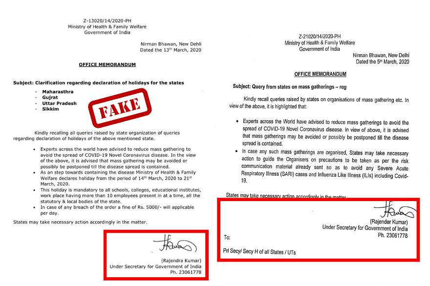 Left: Viral circular. Right: An official circular released by the ministry.