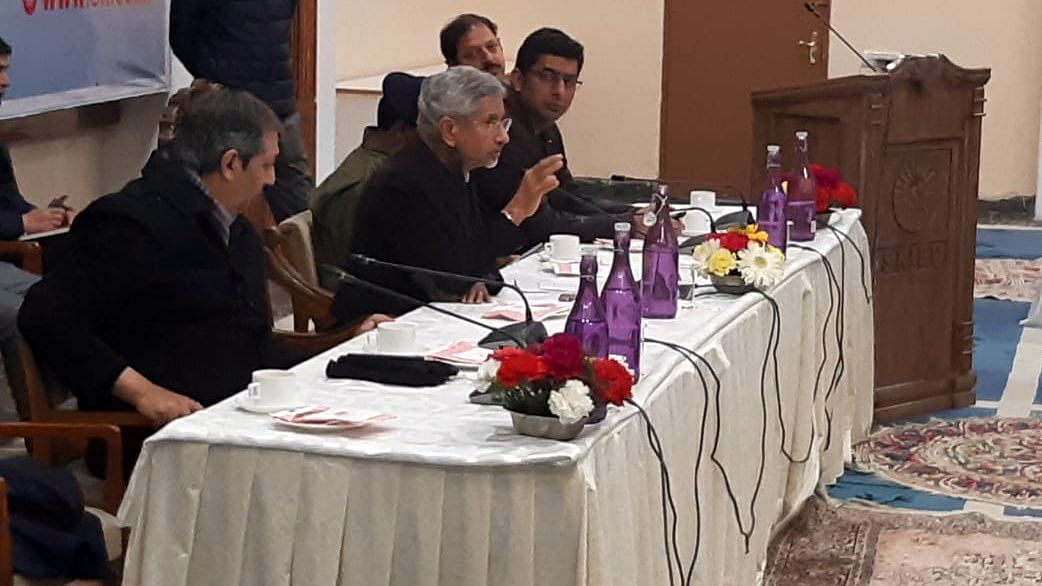 Jaishankar met the relatives of people stranded in Iran, at Kashmir International Convention Complex.