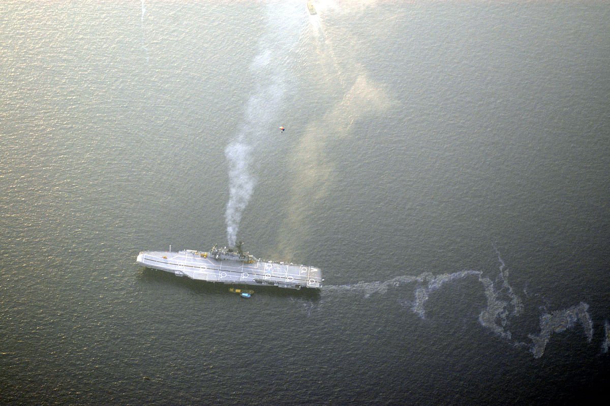 The aircraft carrier, as seen by a jumper.