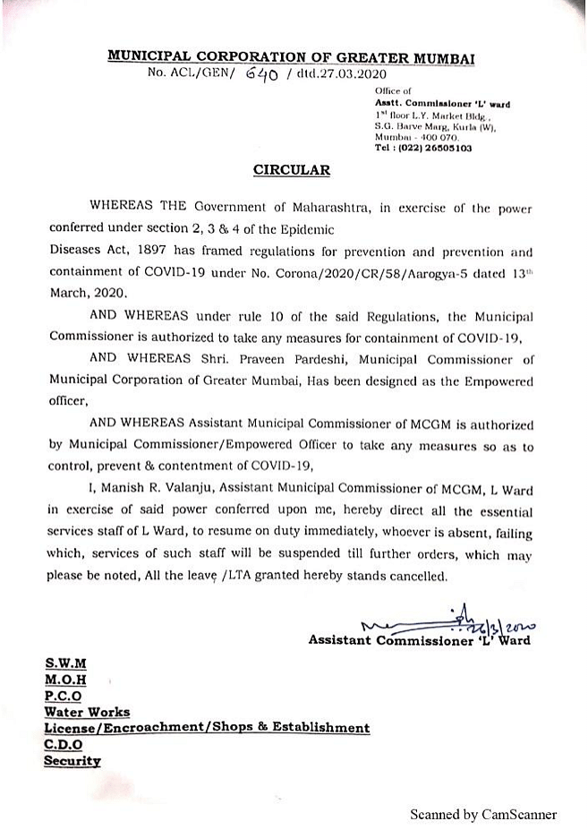 Circular dated 27 March.