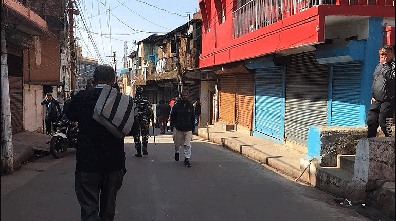 Bara Bazar wearing a deserted look following the stabbing incidents on Saturday morning in which one person lost his life.