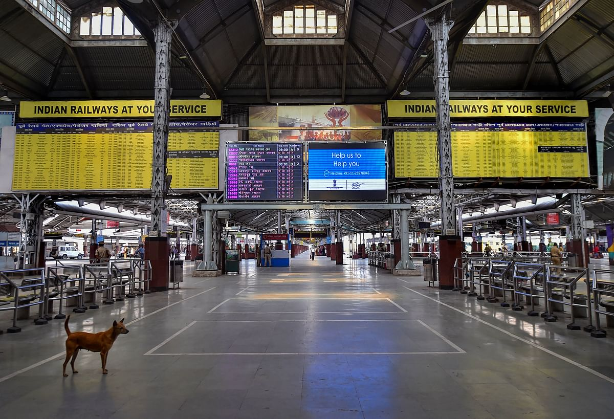 A street dog is seen at a deserted Howrah Station during Janata curfew.
