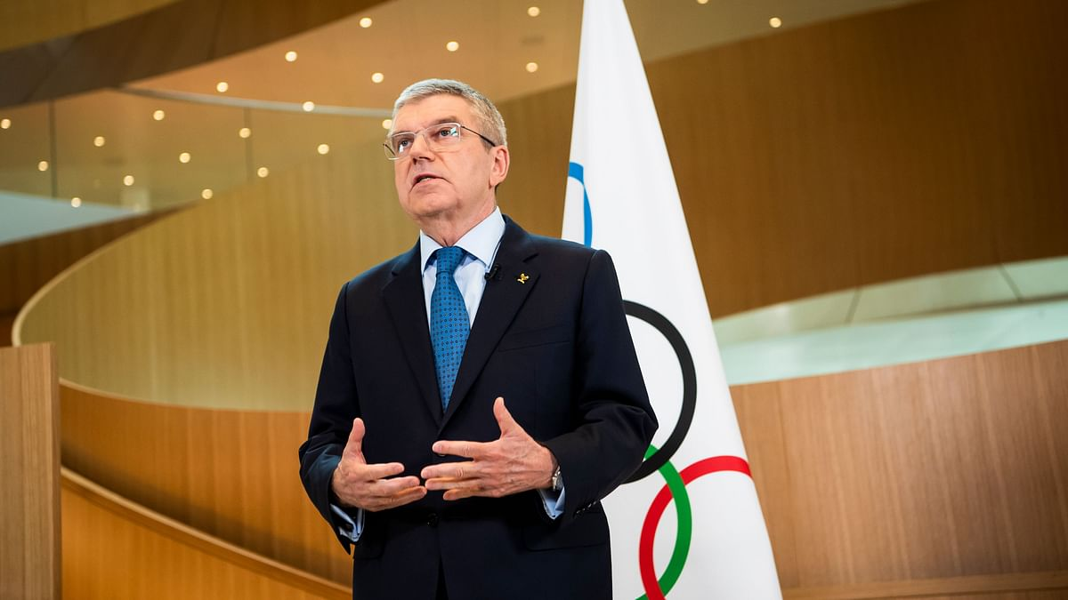 International Olympic Committee (IOC) president Thomas Bach speaks during a statement on the coronavirus (COVID-19) and the Olympic Games Tokyo 2020 after the executive board meeting of the IOC.