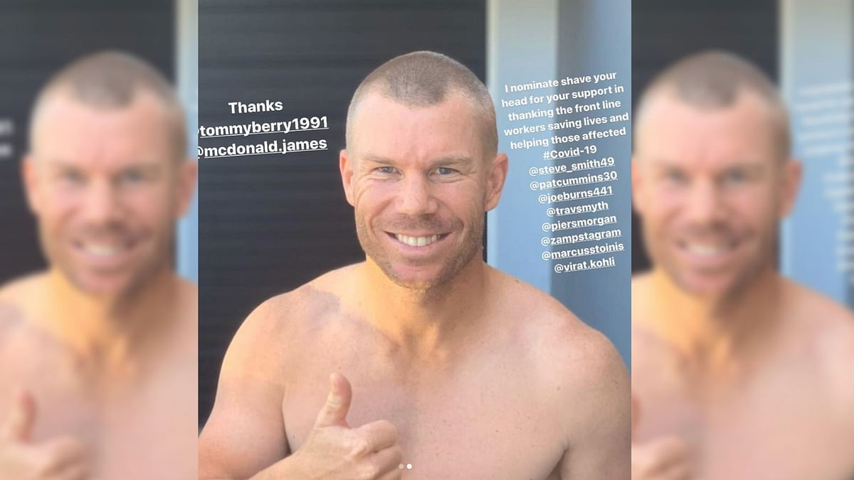 Australia opener David Warner has shaved his head in support of those working on the frontline for COVID-19.