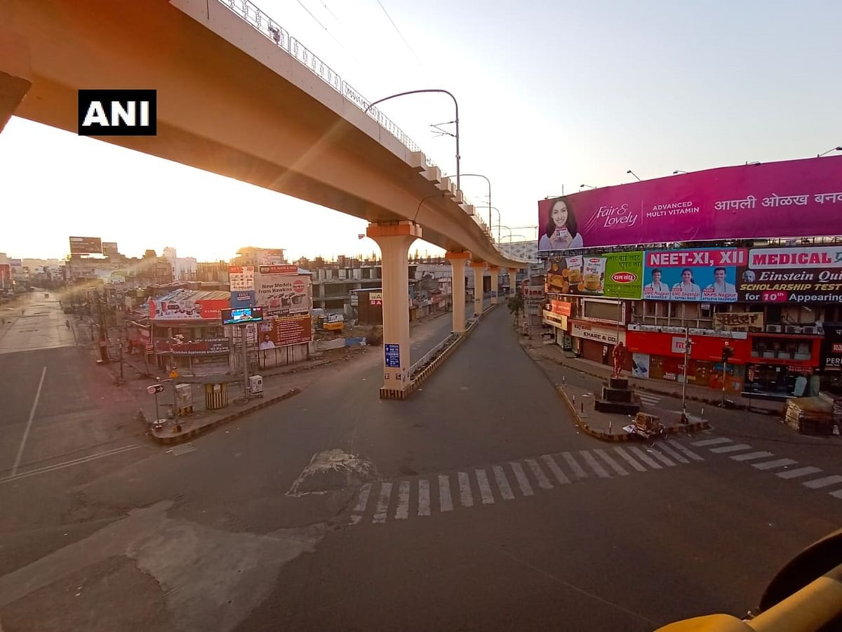 Empty streets in Nagpur as the day of the Janata Curfew dawned.