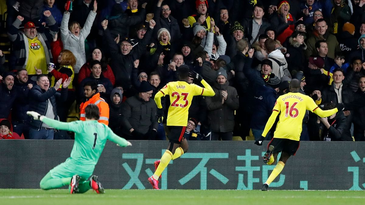 All of Watford's goals, through Ismaila Sarr's double and Troy Deeney.
