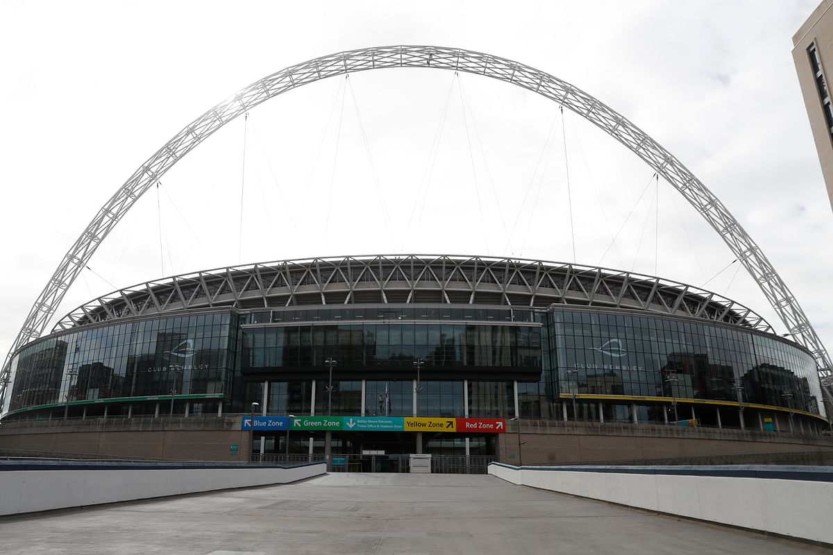 A general view of Wembley Stadium in London that is supposed to host some of the match of the European Championships.