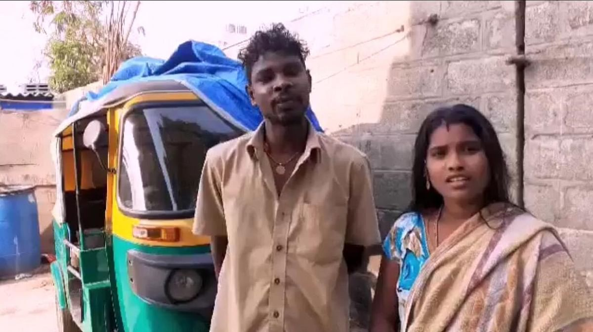 Chinraj, auto driver and his wife