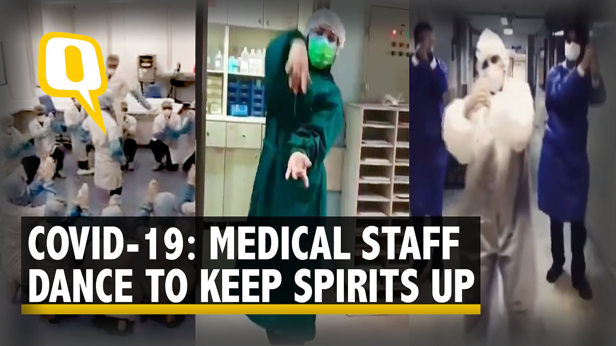 Medical staff can be seen dancing to lift the spirits of Coronavirus patients.
