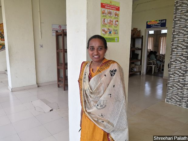 Rashmi A P, 38, is leading the group of mental health counsellors at the call centre. She starts her day with calls to the patients in isolation wards.