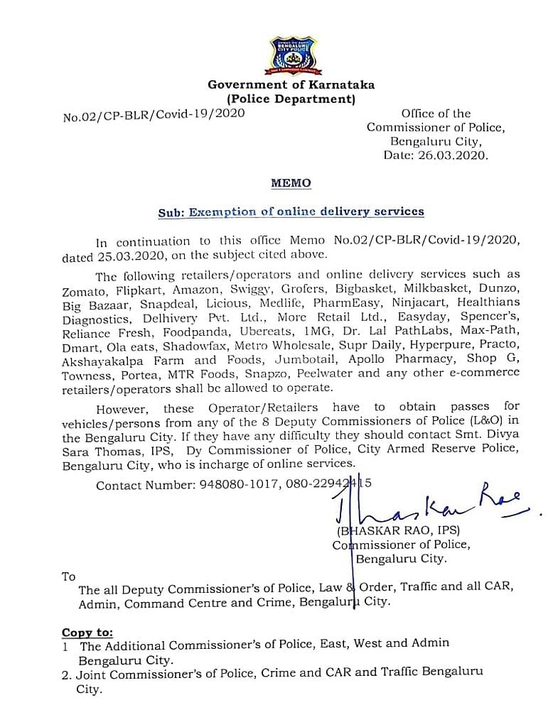 A letter authorising online delivery services to carry out home-delivery.