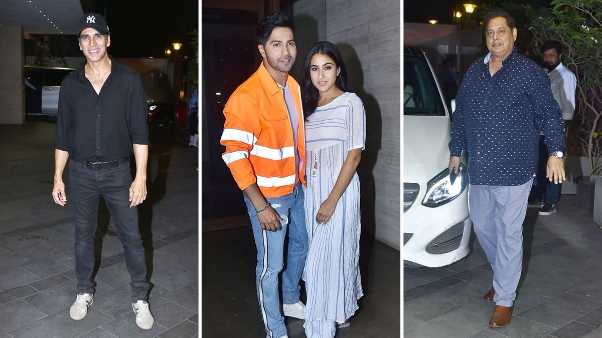 In Pics: Sara, Varun, Akshay Attend  'Coolie No.1' Wrap Up Party