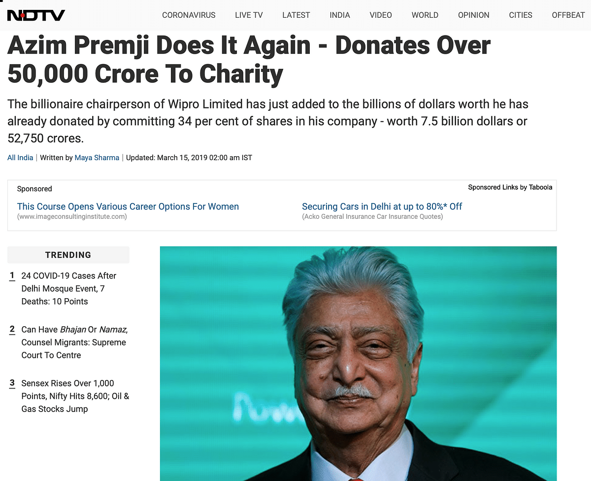 COVID-19: Old Report Shared as Azim Premji Donating 50,000 Cr
