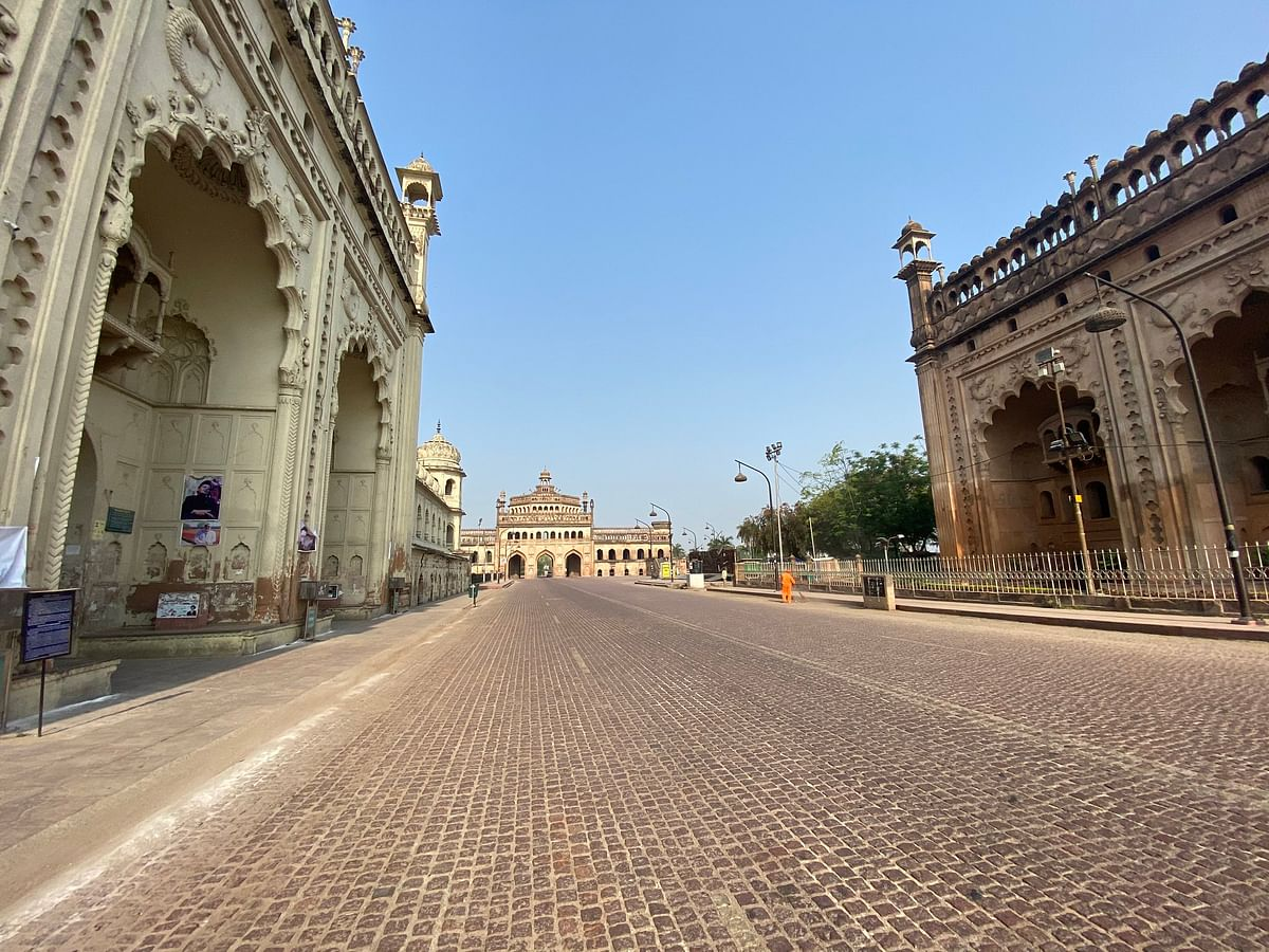 """""""Empty road near the Imam Bara and the Rumi Darwaza, among Lucknow 's most popular tourist destinations,"""" wrote Alok Pandey on Twitter."""
