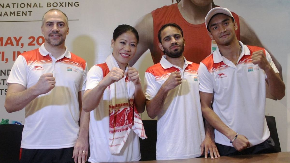 India's High Performance Director Santiago Nieva with Mary Kom, Amit Panghal and Vikas Krishan.
