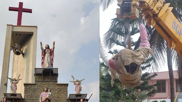 Christian community alleges Christ statue has been removed by the local officials.