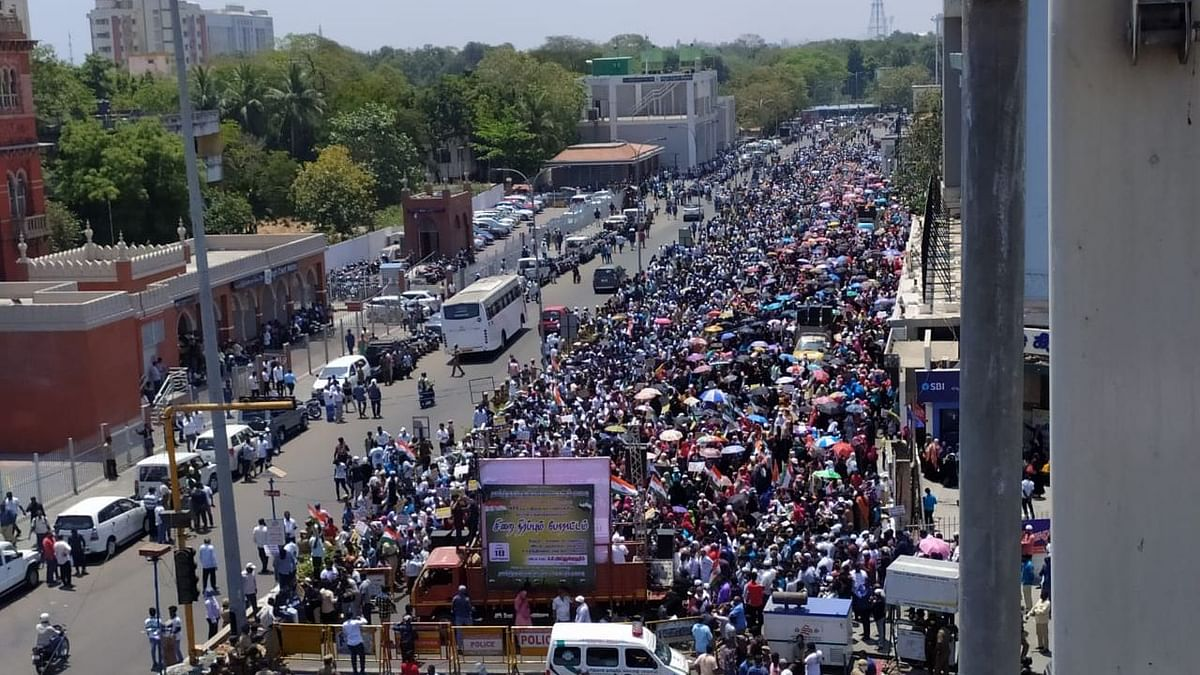 Amid the coronavirus outbreak, at least 3000 people took to the streets in Chennai to protest against CAA and NRC.