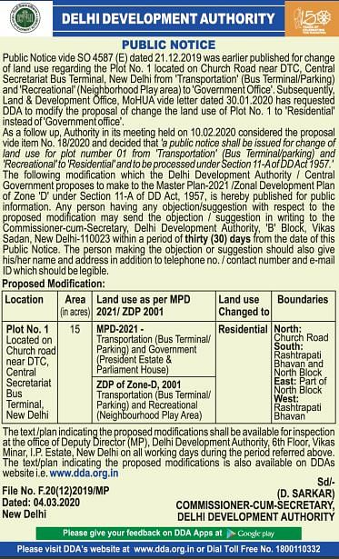 Image of the DDA notice, notifying change in land use.