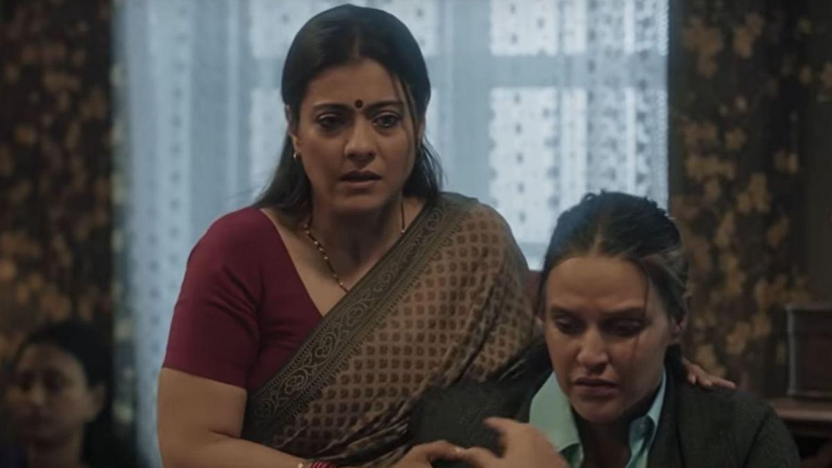 Kajol and Neha Dhupia in a still from <i>Devi</i>.