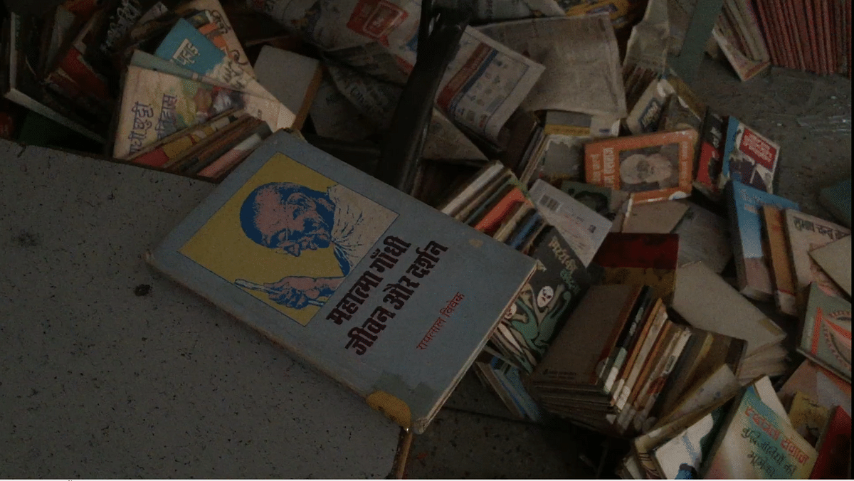 Inside the vandalised library of Arun Modern School.