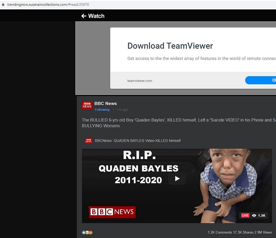 Video  Claiming 'Bullied Boy Quaden Bayles Killed Self' is Fake