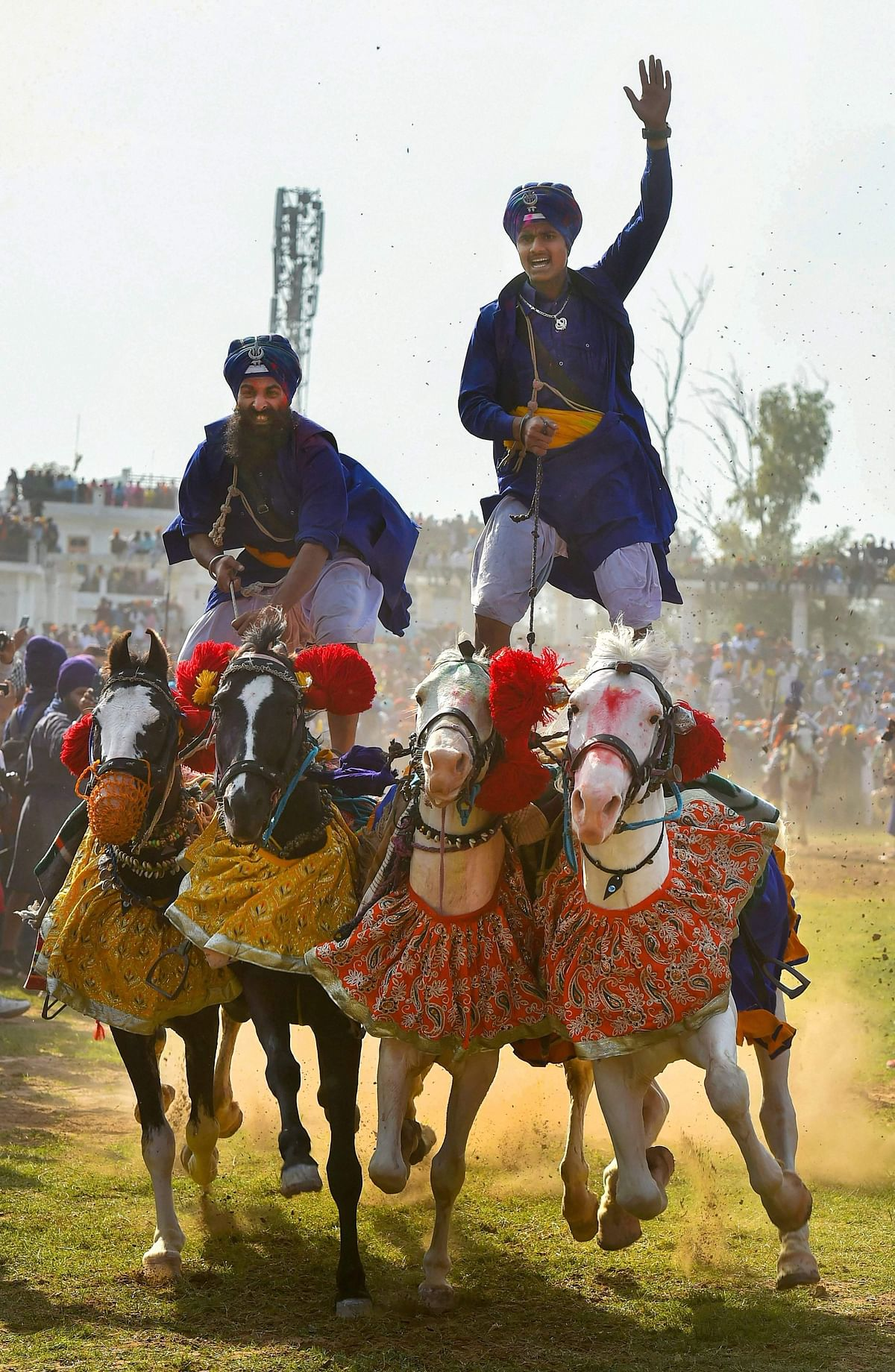 In the Holla Mohalla festival, lakhs of Sikhs participate to exhibit their abilities to combat, engage in martial arts, use the bow and arrow, ride horses and other activities.