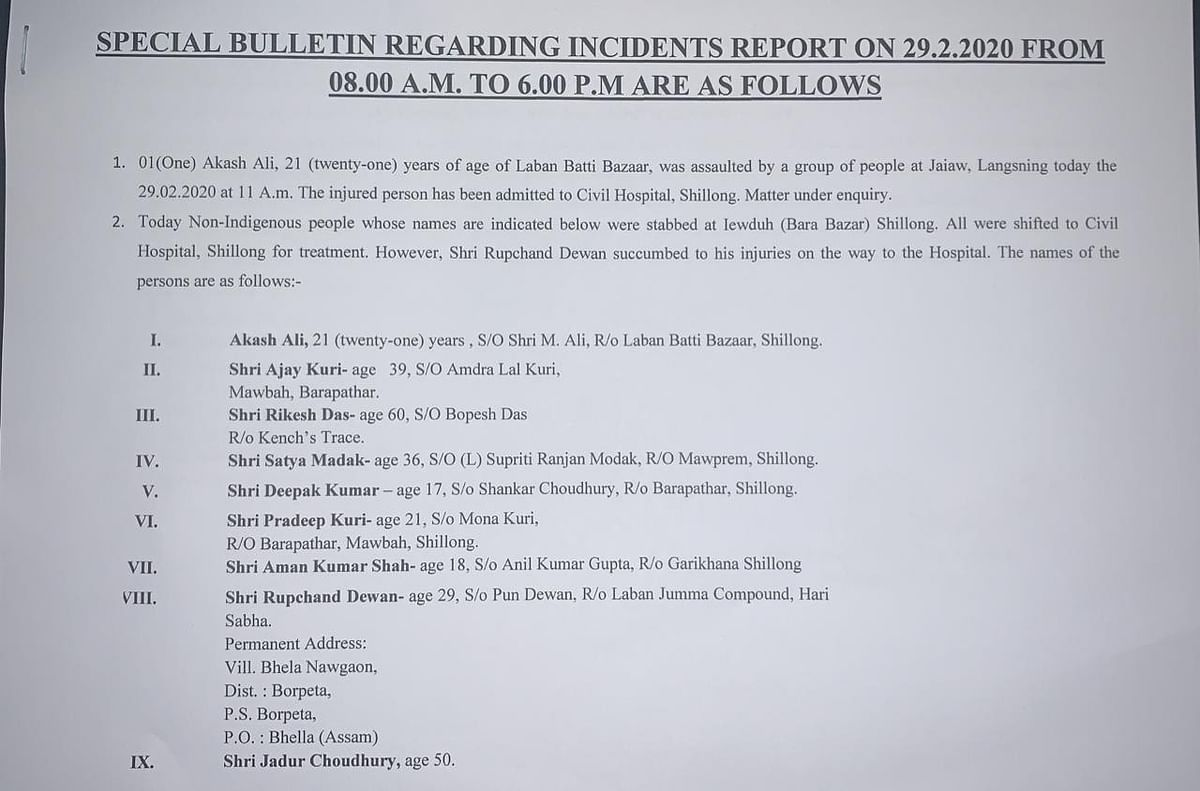 Press release of special bulletin regarding the violence in Shillong and Jaiaw, Langsning.