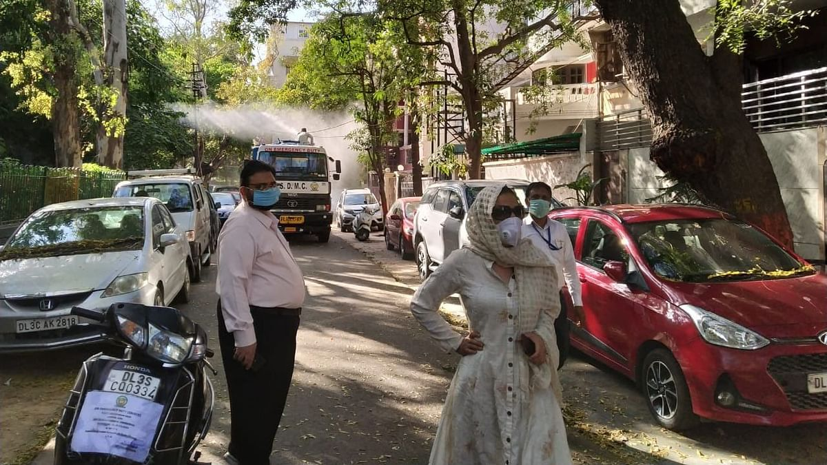Sanitation work being carried out in New Delhi's Nizamuddin area.