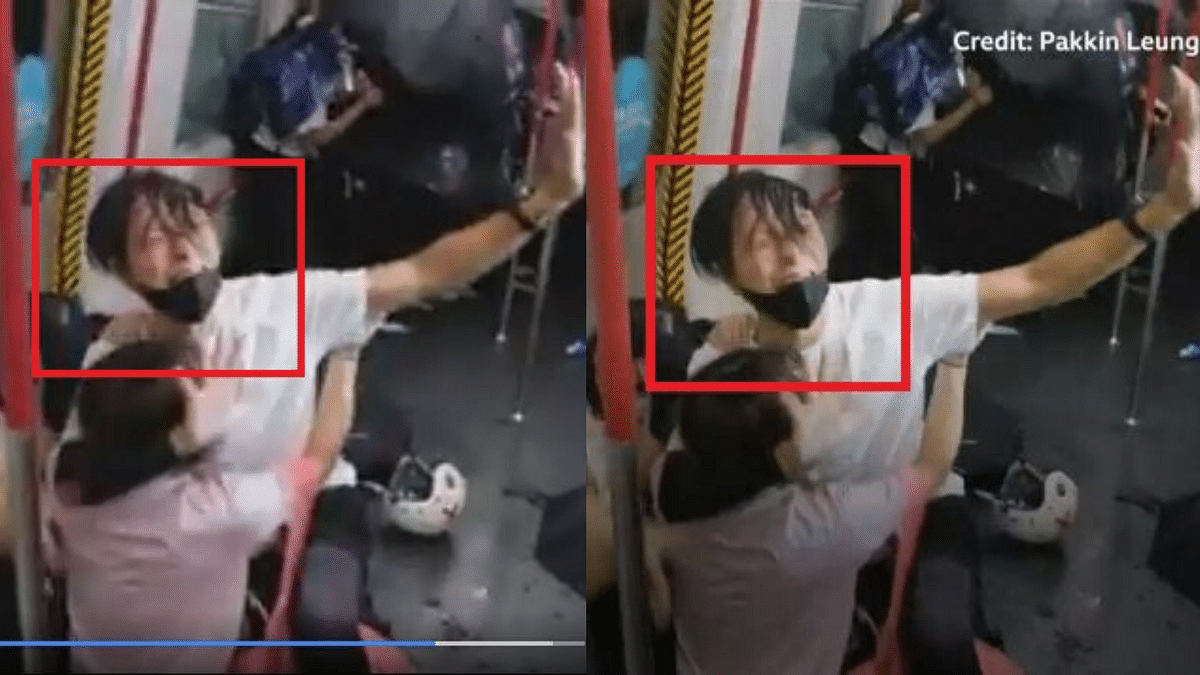The image on the left shows the viral video while the image on the right shows the BBC clip.